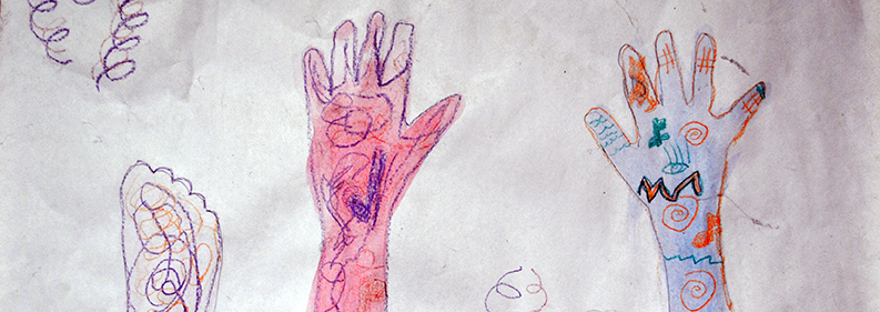 Image of child's drawing of handprints