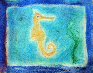 Pastel drawing of a seahorse