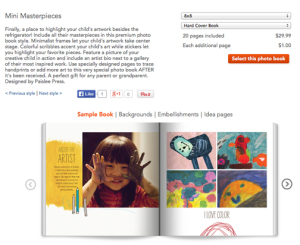 Screen capture of Shutterfly book