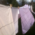 Sheets hanging on clothesline