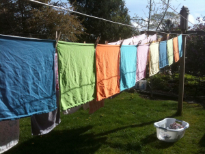 Colorful napkins hang like prayer flags on a clothesline