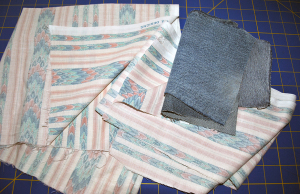 Fabric remnant and denim from old jeans