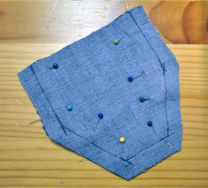Flap sewn on three sides, ready to turn
