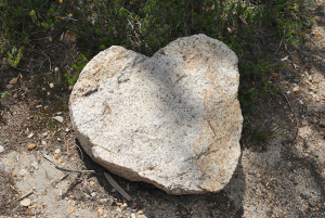 Large heart-shaped rock on a hiking trail